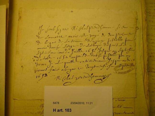 Reçu du traitement de Nicolas Prudhomme
