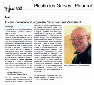 OF du 17 janv 2013 : Yvon Féchant
