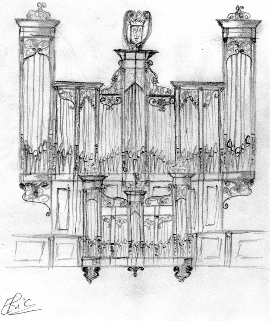 Guingamp basilique : reconstitution du buffet original de Vaignon par Eric Cordé