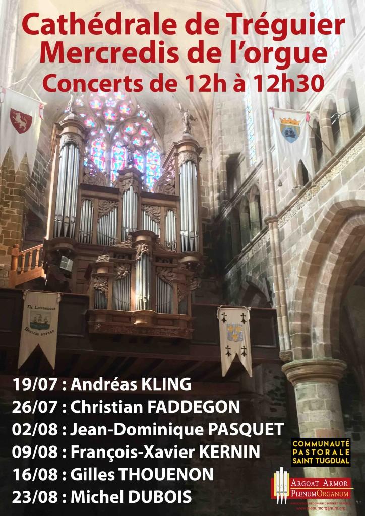 Affiche des Mercredis de l'orgue 2017 à Tréguier
