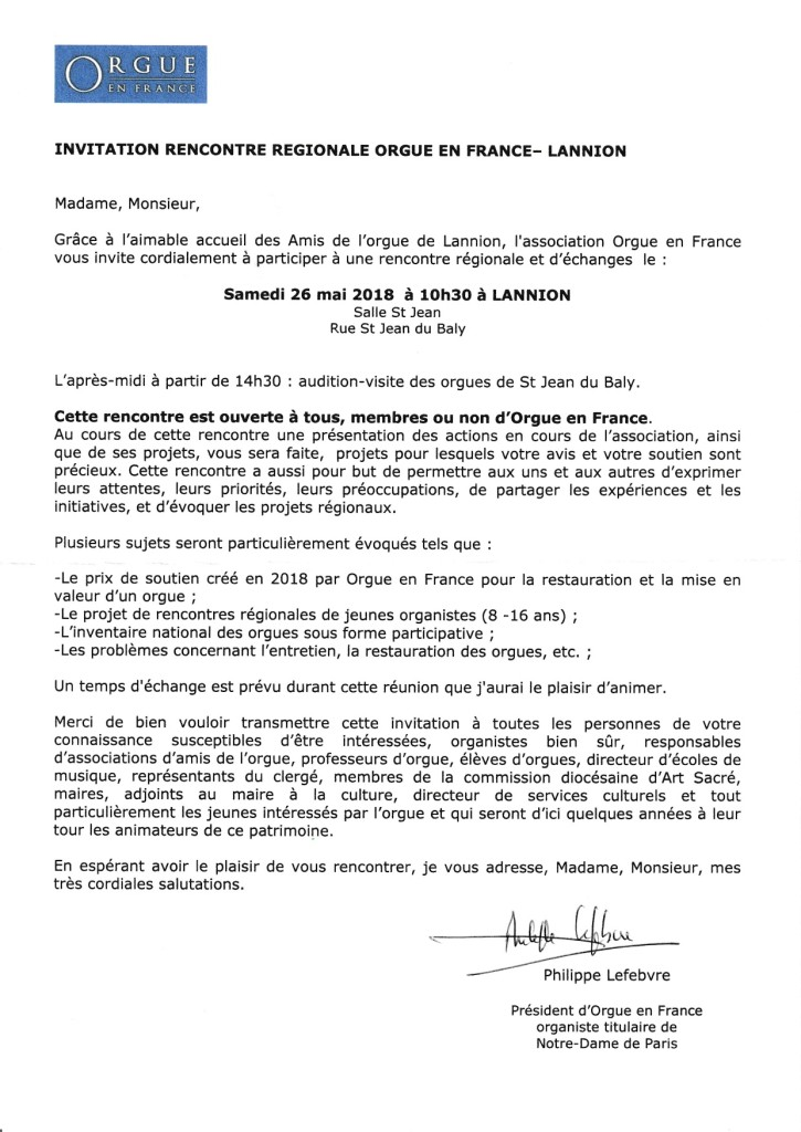 Invitation réunion Orgue en France