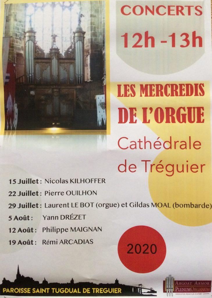 Les mercredi de l'orgue à Tréguier en 2020